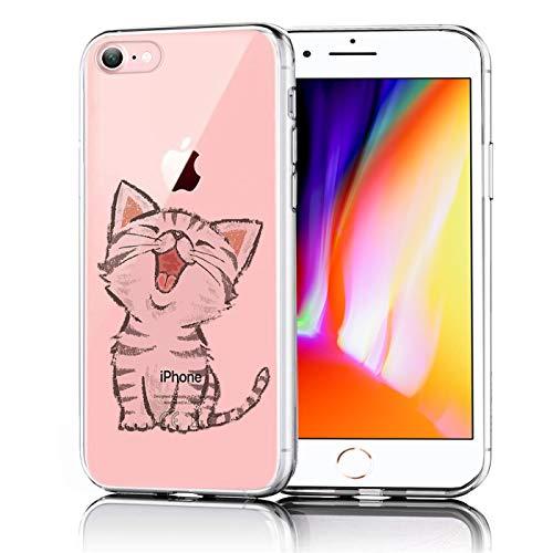 Verco Handyhülle für iPhone 8, iPhone SE 2020 Hülle Premium Muster Handy Cover für Apple iPhone 7/8 Hülle weiches Flexibles TPU Hülle (4,7 Zoll), Katze Motiv