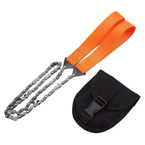 Lgraka Scie à chaîne de Survie Portable, tronçonneuse de Poche Pliable, Coupe-Fil d'urgence pour la randonnée, la randonnée, Le Camping, la Chasse et la Survie en Plein air (Orange)