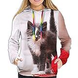 パーカー スウェット レディース プルオーバー 長袖 哀れっぽい猫 ポケットフード付き おしゃれ 春秋冬