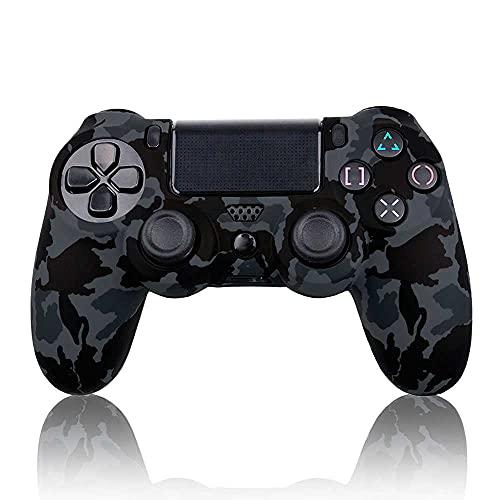 OcioDual Funda de Silicona Compatible Con Mando PS4/Slim/PRO Camuflaje Gris Oscuro Carcasa Anti Caídas Golpes Goma Flexible