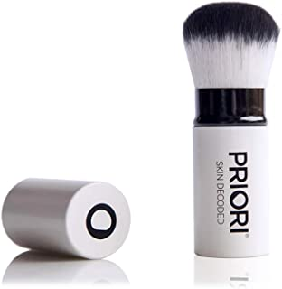 Priori Retractable Kabuki Brush – Soft, Cruelty Free Synthetic Bristles – Perfect Coverage Round Makeup Brush, Flawless Application On-The-Go, Travel & Purse-Friendly, Vegan
