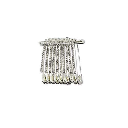 Evogirl Safety Pin Rhinestones Premiun Look Saree Lock Pins 4.7cm Silver Dimonds, Large, for Women/Girls (Pack of 12)