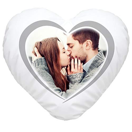 SpecialMe® Herzkissen mit eigenem Foto, Fotokissen Bedrucken Lassen, personalisierte Geschenke & Liebesgeschenke weiß Herz-Kissen