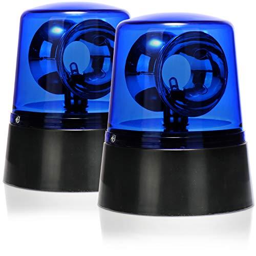 com-four® 2X LED-Partyleuchte Blaulicht mit 360° rotierendem Reflektor-Rundumlicht als Signalleuchte, Deko-Beleuchtung für das Feuerwehr- oder Polizeiauto der Kinder (02 Stück - Blaulicht)