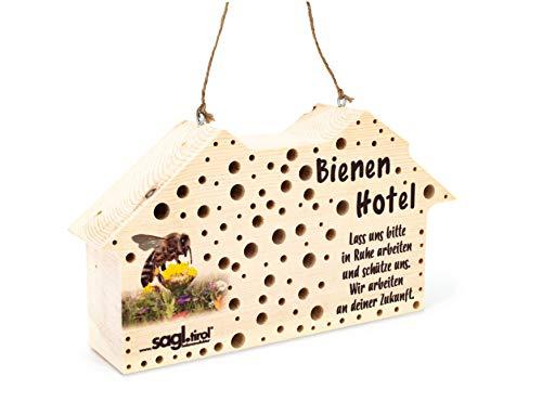 sagl.tirol Insektenhotel für Wildbienen aus Zirben Holz, Wildbienenhotel als Nisthilfe mit über 100 Bohrungen in 3/4/5/6/8/10 mm Durchmesser