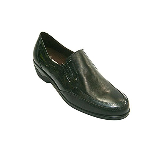 Zapato Mujer Combinado Piel y Charol Pitillos en Negro Talla 40