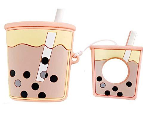Xuyoz Airpods Pro - Funda protectora para Airpods Pro (silicona), diseño de dibujos animados 3D, con llavero para niñas, mujeres, hombres, compatible con Airpods Pro Charge Case 2019, té de leche