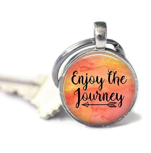 because meet you Enjoy The Journey Dome Glass Keychain, Gifts for her, Key Ring