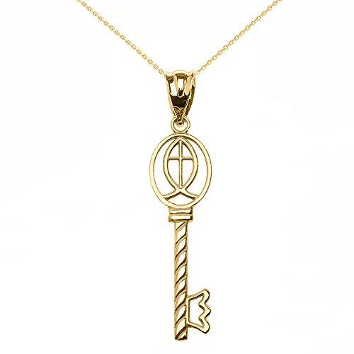 Mujer Colgante Collar Oro Amarillo de 10quilates Ichthus Llave de cruceta (viene...