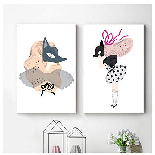 kaxiou Prints Home Decoratie Wall Art Canvas Schilderen Modulaire Cartoon Meisje Vos Masker Foto's Noordse Moderne Poster Voor Woonkamer-50X70Cmx2 Stks Geen Frame