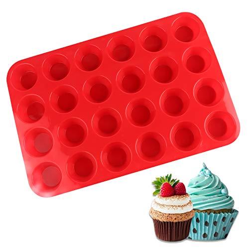 FENRIR Mini molde de silicona para 24 magdalenas, no se pega, uso seguro en lavavajillas y microondas