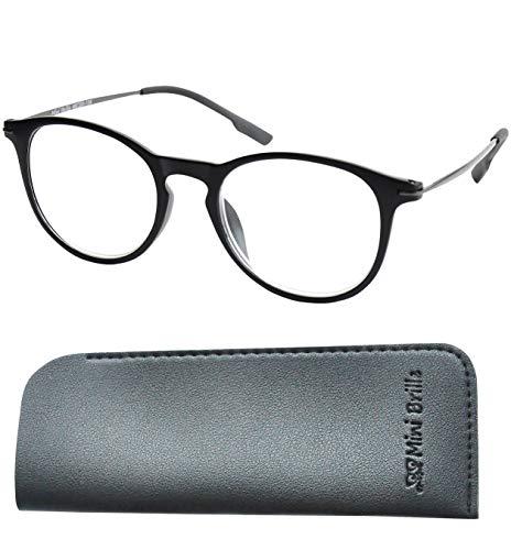 Nerd Leesbril met Grote Ronde Lenzen, GRATIS Etui, Plastic Montuur met Metalen Brillenpootjes (Zwart), Leeshulp Vrouwen en Mannen +2.5 Dioptrie