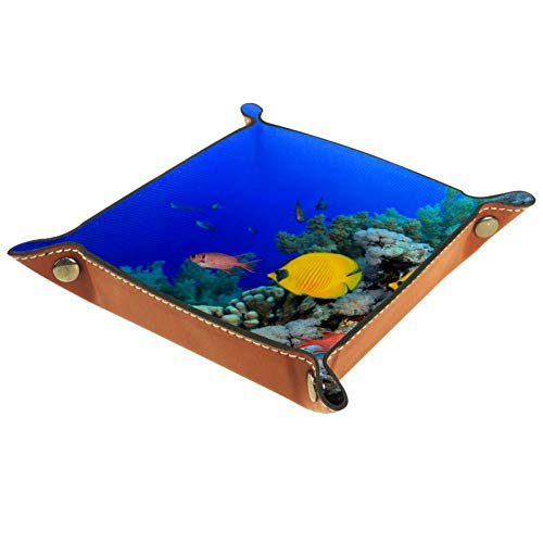 Bennigiry Fisch-Leder-Tablett für Geldbörse, Uhren, Schlüssel, Münzen, Handys und Bürogeräte, Multi, 20.5x20.5cm