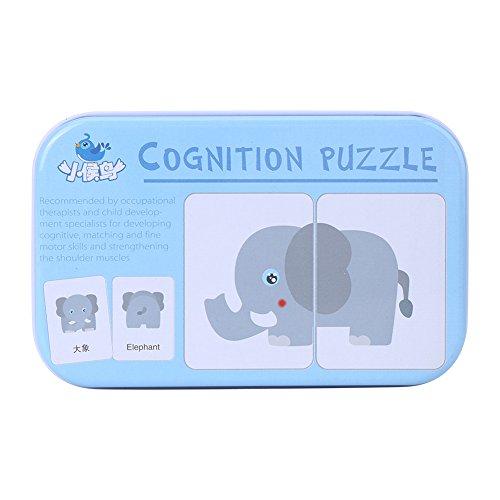 32Pcs Puzzle de Tarjeta Flash Tarjeta de Educativo Infantil para Bebés y Niños Tarjetas de Transportes Animales Frutas y Necesidades Diarias en Caja de Hierro(Animales)