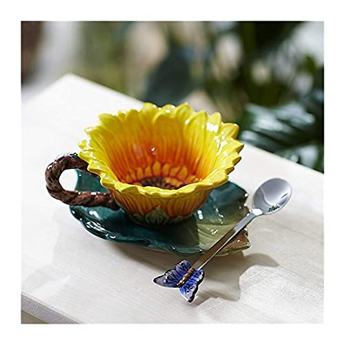 DWhui Tazas de cerámica Taza Cómica Creativa Girasol Esmalte Tazas de Porcelana Cerámica Taza de café Original Decoración casera de Porcelana Cuchara de Mariposa Capacidad: 150ml