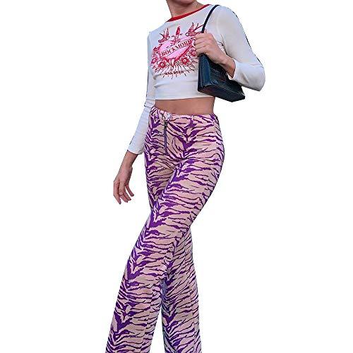 Wuloopesoy Pantalones con Estampado de Cebra para Mujer Pantalones Largos elásticos de Cintura Alta Pantalones Sueltos con Estampado de Moda de Pierna Acampanada Informal