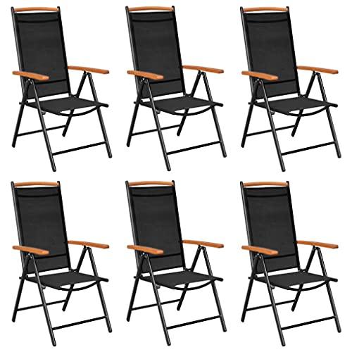 vidaXL 6X Sillas de Jardín Plegables Reclinables Exterior Balcón Terraza Sillón Patio Asiento Butaca Muebles Mobiliario Textilene Negro