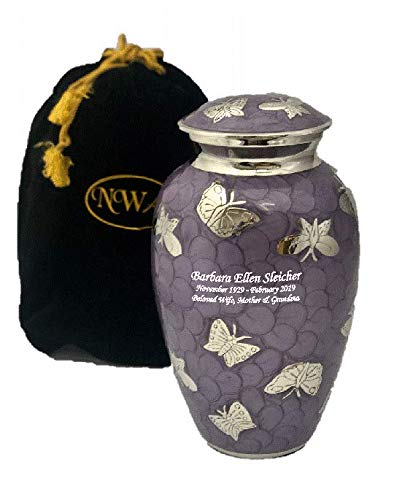 Custom Large Lavender Butterfly Cremation Urn with Velvet Bag and Personalization