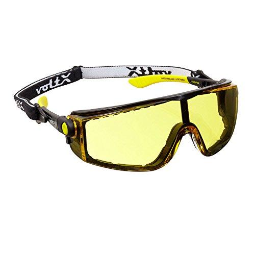 voltX 'Quad' 4 in 1 Schutzbrille - gelb - mit Schaumeinsatz und abnehmbares Kopfband - CE EN166f Zertifiziert
