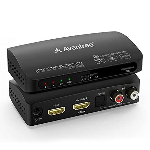 Estrattore audio ARC HDMI HDR Avantree HAX04, uscita audio ottica e analogica che supporta il surround senza perdite di segnale, UHD 4K a 60Hz, HDMI 2.0, HDCP 2.2, PASS-through CEC con gestione EDID