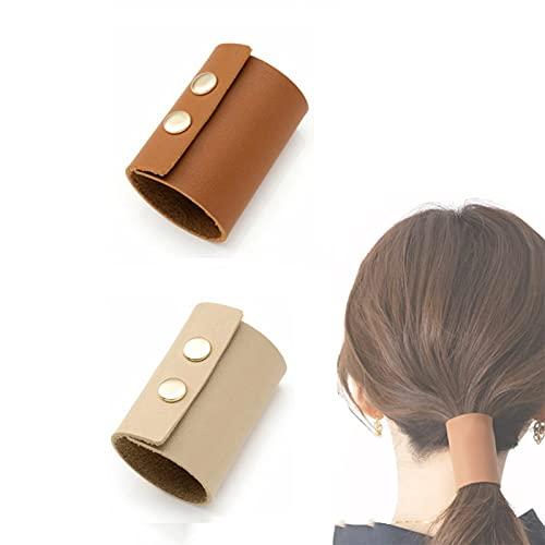 Brazalete de cuero para el pelo, 4,5 cm de ancho, soporte para coleta, hecho a mano, accesorios para el cabello adecuados para mujeres y niñas (beige y gris)
