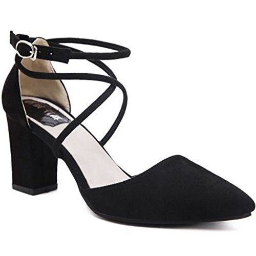 Minetom Donne Elegante Scarpe A Punta Scarpe Cross Cinturini Alla Caviglia Nubuck Sandali Con Tacco Grosso Nero 37