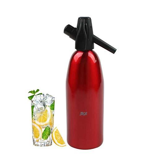 Luoshan Manuel Soda Siphon Distributeur de CO2 Eau Générateur De Bulles De Boissons Fraîches Cocktail De Soda Machine Barre en Aluminium DIY Soda Maker, Capacité: 1L (Rouge) (Color : Red)