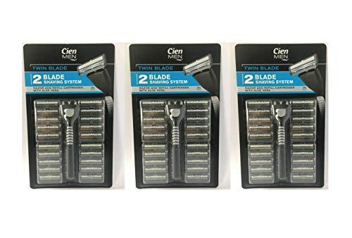 Cien Men Twin Blade Shaving System Rasierer mit 20 Rasierklingen, 3er-Pack (3 Rasierer + 60 Klingen)