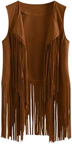 Womens Fancy Thin Autumn Suede Ethnic Sleeveless Tassels Fringed Vest Cardigan Khaki product image