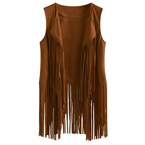Kulywon Fringe Vest for Women Suede Faux Tassels Vest 70s Ethnic Winter Open-Front Sleeveless Vest Western Cowgir Tops Khaki