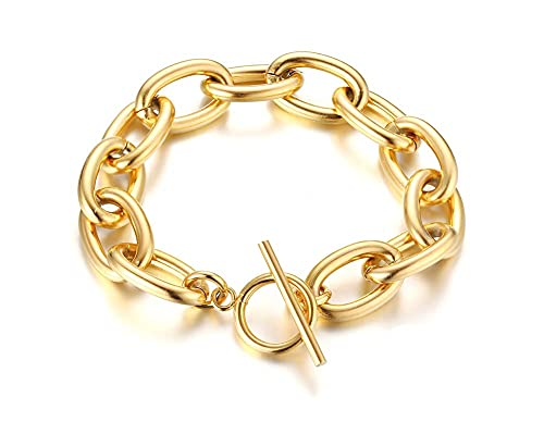 Stylish Chic Fashion Gold Plated Gold-Tone Thick Big Stainless Steel Chunky Chain Link Choker Necklace and Bracelet for Women with Toggle Clasp