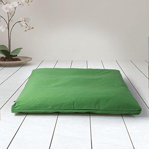 ZAFUKI Estera de meditación/Zabutón/Relleno Fibra de algodón 100% Reciclado/Base para Cojín de meditación/colchoneta meditación y Yoga / 75x65 cm (Verde Amazonas)