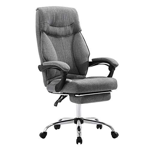 EUGAD 0006BGY Bürostuhl Chefsessel Schreibtischstuhl Drehstuhl Computerstuhl mit Fußstütze, Höhenverstellbar, Stoffbezug, Dunkelgrau