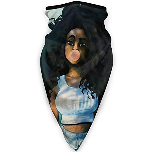 Windproof Tube Masks, Men Women Anti Dust Breathable Balaclava, Best Anime Cute Black Curly Hair African Girl Drawing Sweatband Magic Scarf for Riding Fishing