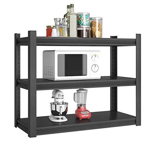 Inicio Equipo Marco de almacenamiento Piso de cocina Rejilla de horno de microondas de varias capas Estante de almacenamiento Estante de almacenamiento Estante para ollas Armario Negro Simple (Tama