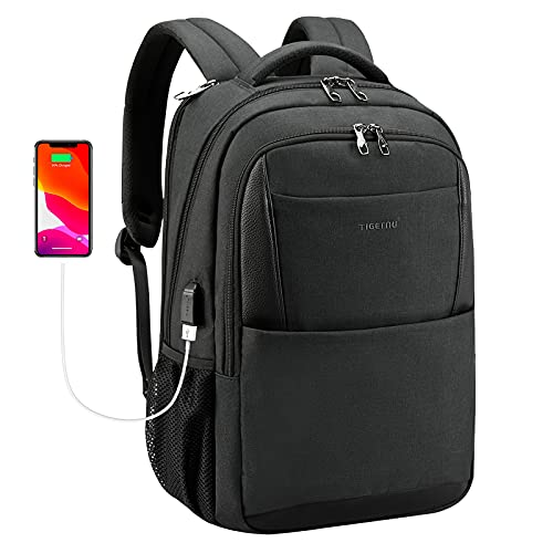 Tigernu Laptop Backpack,Business Travel Anti Theft Slim Durable Laptops Backpack with USB Charging Port,Water Resistant College School Computer Bag for Women & Men Fits 15.6 Inch Laptop and Notebook