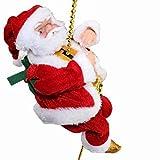 Escalera de Escalada de Papá Noel eléctrica Escalera de Cuerda de Escalada de Papá Noel Decoración, muñeco de Papá Noel de Escalada navideño para Colgar el árbol de Adorno (tamaño: Mediano), práctic