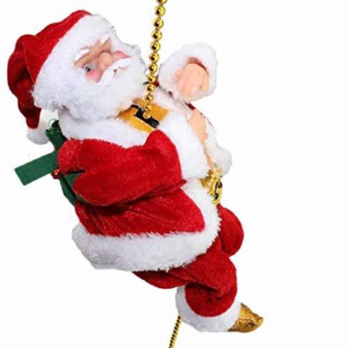 JIAL Santa Climbing Head Electric Santa Claus Climbing Ladder Decoration, Christmas Climbing Santa Doll Toys for Hanging Ornament Tree (Size: Small), Size: Medium chongxiang