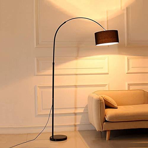 gengxinxin Lámpara de pie de Arco con sombrilla y Base Resistente, lámpara de pie Forma de melocotón Negro y lámpara de Sala de diseño de Tela