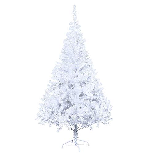 vingo Christmas Tree 7.2ft / 2.2M White 1000 Tips Artificial Trees Metal Stand, Virgin Fire Retardant PVC Tips, Xmas Home Decorations