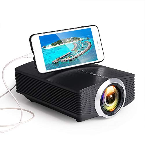 Sxgyubt YG510 Gm80a Mini-Projektor, 1800 Lumen, LED, LCD, VGA, HDMI, AC3, Beamer, unterstützt 1080P YG500A 3D-Projektor, Schwarz