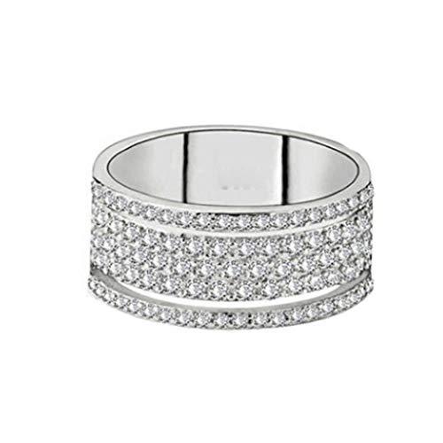 Anillo de diamantes para mujer, con microincrustaciones de diamantes, para boda, compromiso, aniversario, San Valentín, joyería de regalo para damas, novias, menos de 5 libras J½ plata