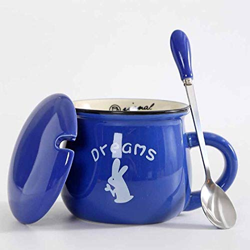 xingfuankang Keramik Tasse Kreative Süße Farbe Vintage Löffel Mit Deckel Einfache Big Belly Mug Frühstückstassen Milch Kaffeetassen Tee Tasse-Azul