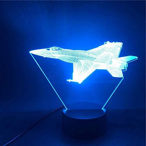 Lámpara de ilusión 3D Luz de noche LED Fighter American Fighter Regalo Sensor táctil USB Dormitorio Base brillante Interior