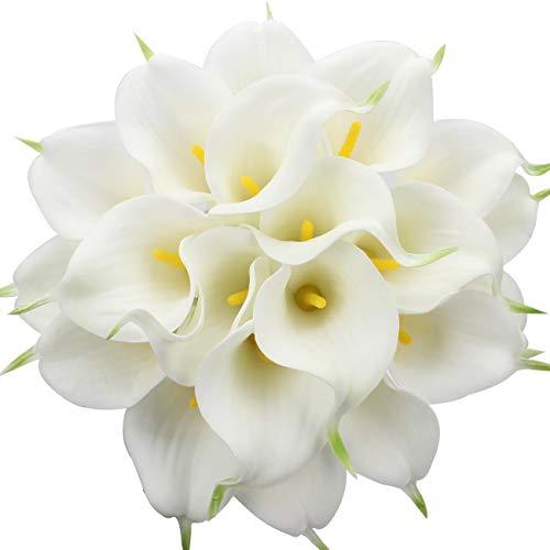 Veryhome 20 Stück Künstlich Calla Lilie Braut Blume Latex Wahre Berührung Familie Dekoration Party Hochzeit Hotel Dekoration Blumenstrauß (Weiß-Gelb)