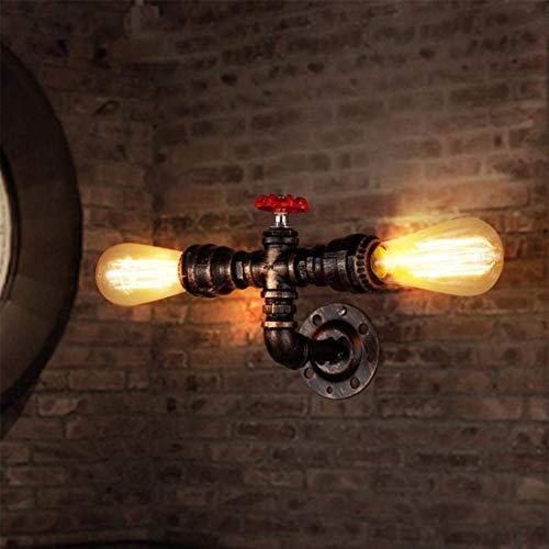 SYyshyin Retro Lámpara De Pared Industrial Vintage Lámpara De Pared Tubo Creativo Tubo Grifo Metal Hierro Edison Bombilla E27 Socket Fixture Iluminación Decorativa De Interior