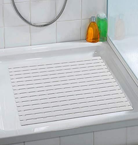 WENKO Duscheinlage Arinos Weiß - Antirutsch-Duschmatte mit Saugnäpfen, Kunststoff, 54 x 54 cm, Weiß