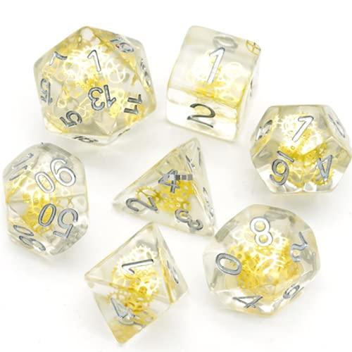 Artificer - Juego de dados poliédricos de calabozos y dragones, transparente, oro cogs. DND D&D 5e. Kit caótico