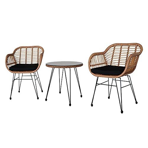 UCISACOLT Set di mobili da giardino in rattan intrecciato a mano tavolo e sedia set 3 pezzi mobili patio rattan divano tessitura vimini comprende 2 poltrone doppie e tavolo