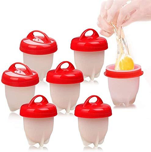 HUHUDAY Cocedor Huevos, 7PCS Cuecehuevos, Recipiente para Cocer Huevos, Ahorrar Tiempo, Huevera de Silicona sin cáscara como se ve en TV